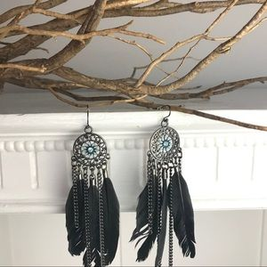 Southwestern design Dreamcatcher feather earrings